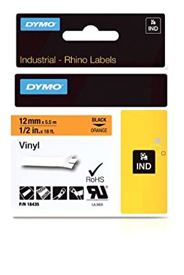 """DYMO Industrial Labels for DYMO Industrial Rhino Label Makers, Black on Orange, 1/2"""", 1 Roll (18435)"""