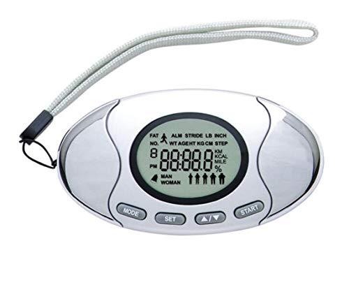 体脂肪計 万歩計 歩数計 2in1万歩計脂肪測定器 時計 アラーム機能付 カロリーモニター ステップメートル ジョギング 健康チェック ダイエット エクササイズ (シルバー)