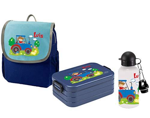 Mein Zwergenland Set 3 Kindergartenrucksack mit Brotdose und Trinkflasche Happy Knirps Next mit Name Traktor Bauernhof, 3-teilig, Blau