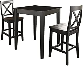 Crosley Furniture 3-Piece Pub Set with Tapered Leg Table and X-Back Stools, Black