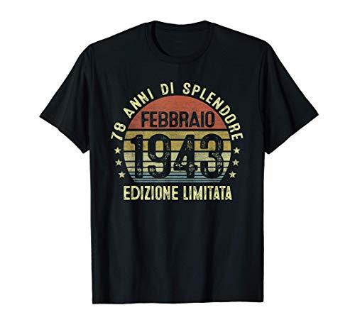 78 Anni Compleanno Uomo Donna Regalo Vintage Febbraio 1943 Maglietta
