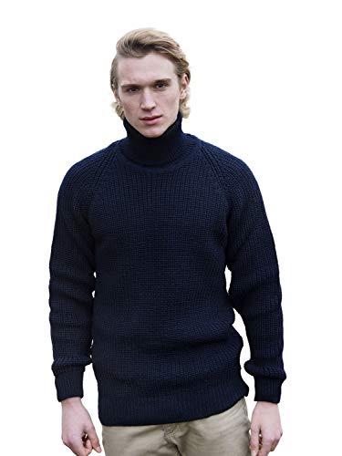100% Irish Merino Wool Fishermans Navy Roll Collar Rib Sweater by West End Knitwear (Navy, Small)