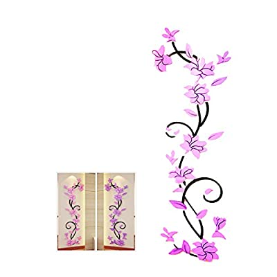 WINOMO 3D Fashion DIY Decal Rose Flower Wall Stickers Adhesive Wall Panel Floral Wallpaper for Background in Bedroom Living Room Home Decor (Light Purple)