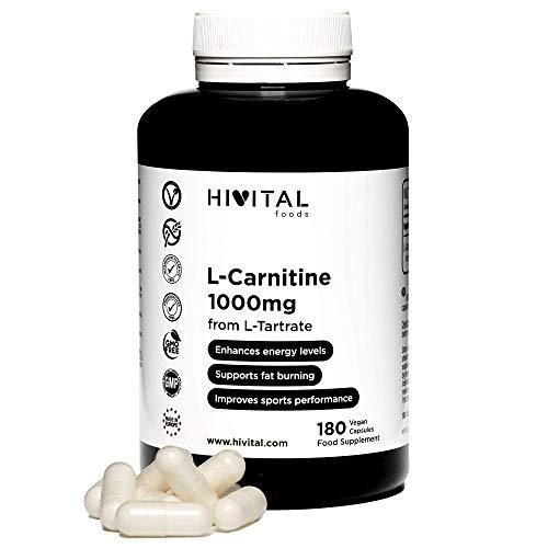 L-Carnitina pura 1000 mg | 180 cápsulas veganas | La L Carnitina ayuda a perder peso y quemar grasa. Aumenta la resistencia y la energía, mejorando la musculatura y el rendimiento deportivo