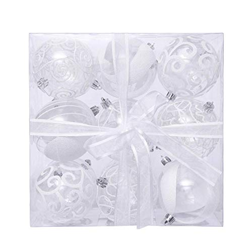 ZILINIU 18 Pieces of 80mm White Painted PET Transparent Ball Ornaments Shatterproof Hanging Ball Baubles Set for Xmas Tree Weddeing Party Décor