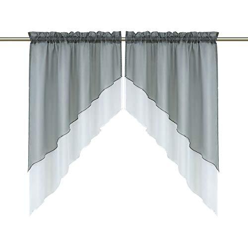 Heichkell Voile Scheibengardine Bogen Set 2-Teilige Kleinfenster Vorhang Tunnelzug Kurzstores Doppelschichtige Küchengardinen Grau BxH 90x100 cm (Jedes Stück)