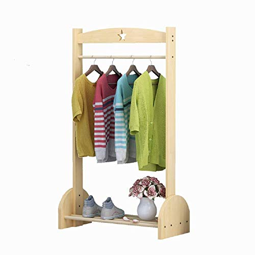 YIONGA CAIJINJIN Hangers Clothing Rack Children's Coat Rack Solid Wood Simple Floor Hanger for Bedroom Laundry Room (Color : Wood, Size : 120x60x30cm)