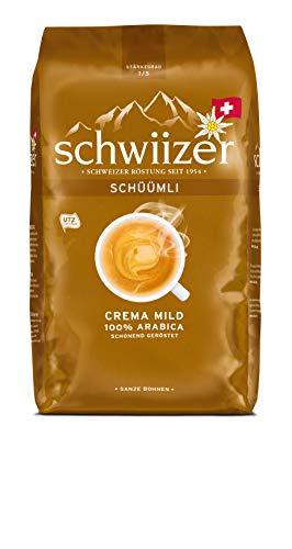 Schwiizer Schüümli Mild Ganze Kaffeebohnen (1kg, Stärkegrad 1/5, Premium Arabica) 1er Pack x 1kg
