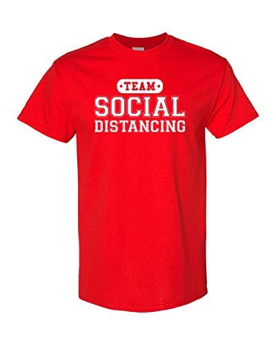 CreateMyTee | Team Social Distancing T-Shirt | Funny Quarantine 2020 Introvert Joke Mens/Womens T-Shirt (Red, Medium)