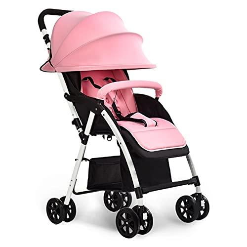 HYAN Cochecitos para niños El Plegado Ultraligero, Puede Sentarse, Puede Estar acostado Alto Paisaje Paraguas niños carritos con Dosel extraíbles (Color : Pink)