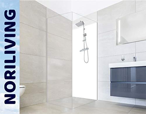 NORILIVING Duschrückwand Fliesenersatz Dusche 90x200 Weiß | Duschwand ohne Bohren 1 teilig kostenloser Zuschnitt auf Wunschformat | Wandverkleidung Bad Aluverbundplatte 3mm