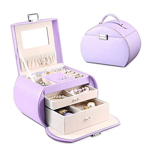 HGJINFANF Pequeñas Casos de joyería para Viajes de Almacenamiento, Cuchillo de Piel de imitación Organizador de joyería portátil para Anillos Pendientes Collar Pulsera Lápiz Labial (Color : Purple)