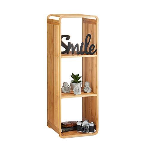 Relaxdays, Natur Bambus Regal, abgerundetes Standregal, schmales Badregal mit 4 Ablagen, quadratisch, HBT: 96x33x33 cm
