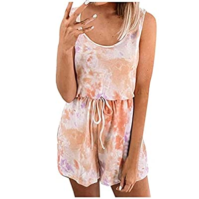 BALABA?Women's Fashion Summer Tie Dye Printed Sleeveless Jumpsuit Plus Size Belted Rompers and Playsuit Casual Tracksuit Pink from BALABA