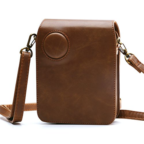 HelloHelio Protective Case for Polaroid POP 3x4 Instant Print Digital Camera - Premium Vegan Leather Bag Cover with Removable Strap, Brown.