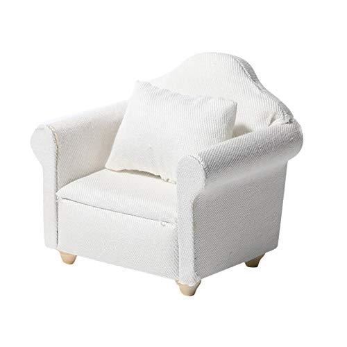 SunniMix Reines weiß 1:12 Skala Mini Holz Sofa Sessel puppenhaus miniaturen möbel Modell w/Kissen Wohnzimmer Dekoration zubehör