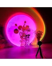 Regenboog projectielamp, romantische visuele zonsondergang lamp, LED schemering nachtval licht met statief, USB decoratie stemmingslicht, desktop vloer kleurrijk licht, voor fotografie creëren sfeer