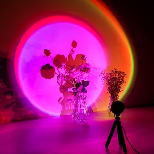 CoMokin Sunset Lamp, 16 Modos de Colores Sunset Projection Lamp, Lámpara de Proyección Arcoíris, Luz Nocturna LED con Rotación de 360°con Soporte para Trípode para Decoración de Dormitorio con Fiesta