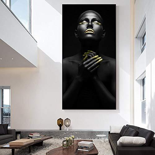 wZUN Chica Africana Lienzo Pintura Arte Carteles e Impresiones en la Pared Chica Negra Lienzo Imagen artística para decoración de Sala de Estar 50x100 cm