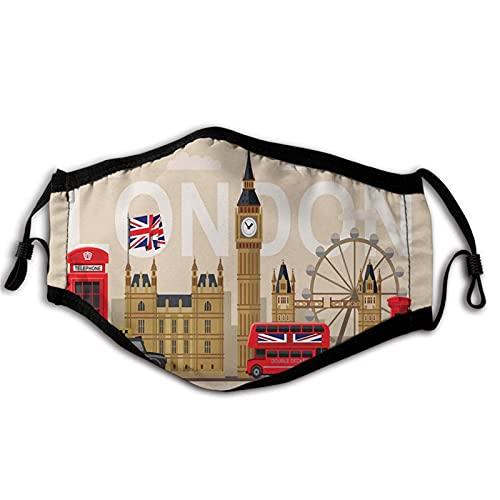 London, berühmte britische Sehenswürdigkeiten Denkmäler, Kunstmuster, Touristisches Reiseziel, mehrfarbig, winddicht, waschbar, Gesichtsabdeckung, Abdeckung für Erwachsene