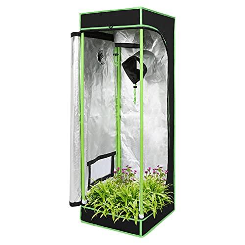 EINFEBEN Growzelt 40x40x120cm, Indoor Growbox, 600D Oxford Pflanzenzelt Gewächshaus Zuchtzelt, Lichtdicht und Wasserdicht Growschrank Schwarz Grün
