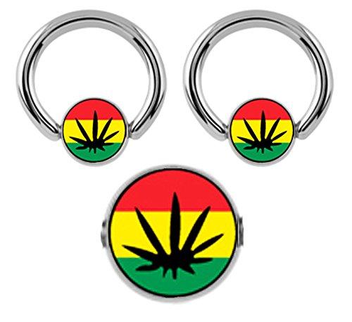 "Pair of Rasta Color Pot Leaf Cannibus Marijuana Captive bead Ring lip, belly, nipple, cartilage, tragus, septum, earring body Jewelry piercing hoop - 14 gauge, 1/2"" (12mm) 14g"