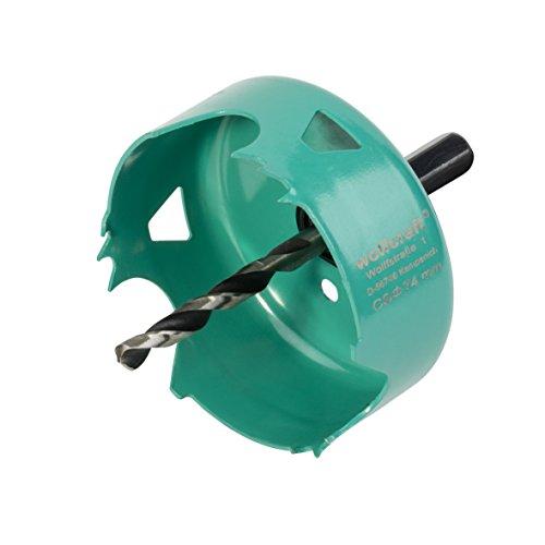 Wolfcraft 5969000 (L) sierra de corona de acero al carbono para planchas de placa de yeso, profundidad de corte 30 mm PACK 1, 0 V, turquesa, 30 x 74 mm