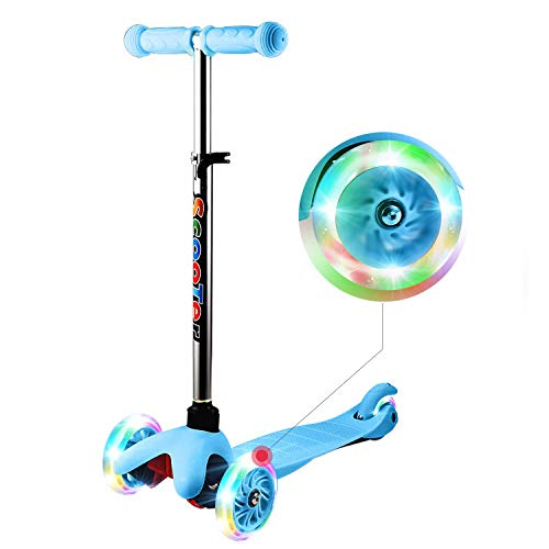 WeSkate Scooters Kids, Boys Scooter 3 Wheels Scooter Lights Up Scooter for Girls, Adjustable Height Scooter, Scooter for Children Ages 4- 9