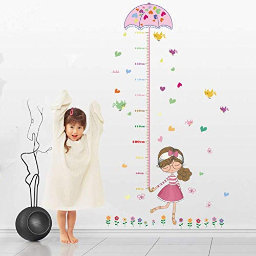 GWFVA Paraplu Meisje Hoogte Sticker Kids Decoratie Kids Slaapkamer Sticker Hoogte Muur Muurschildering Cartoon Muursticker