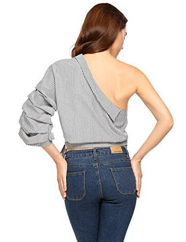 Zeagoo Women Casual One Shoulder Tops Club Blouse Stripped Shirt Black XXL