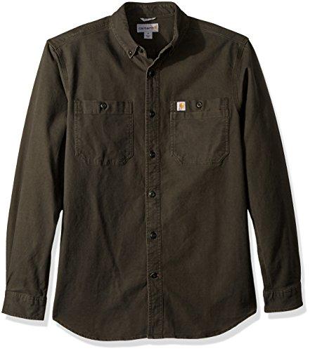 Carhartt Herren Rugged Flex Rigby Long Sleeve Shirt Work Utility Hemd, Peat, Klein