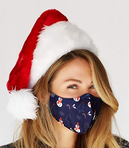 Christmas Face Mask Washable with Adjustable Earloops & Nose Wire - 3 Layers, 100% Cotton Inner Layer - Cloth Reusable Face Protection with Filter Pocket - Made in USA (Navy Snowman)