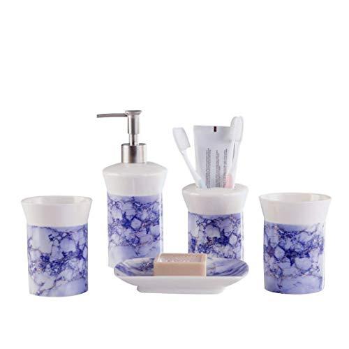 CESULIS Montado en la Pared Accesorios de baño Set 5piece Inicio baño de cerámica Set de Lavado: Botella de loción, cepillos de Dientes, jabonera, x2 Boca Copa A Prueba de Polvo