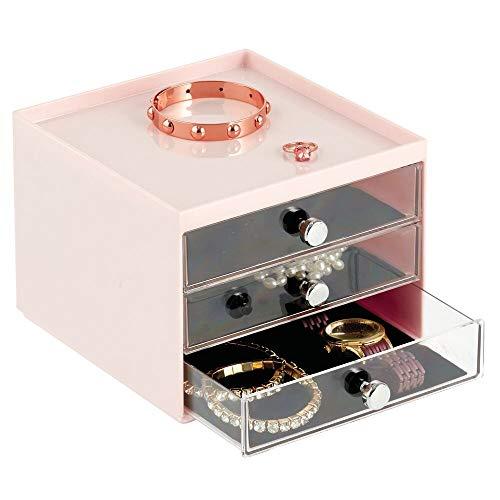 mDesign Schmuck Organizer – Aufbewahrungsbox aus transparentem Kunststoff mit DREI Schubladen – Schmuckaufbewahrung für Kommode oder Waschtisch – Hellrosa/durchsichtig