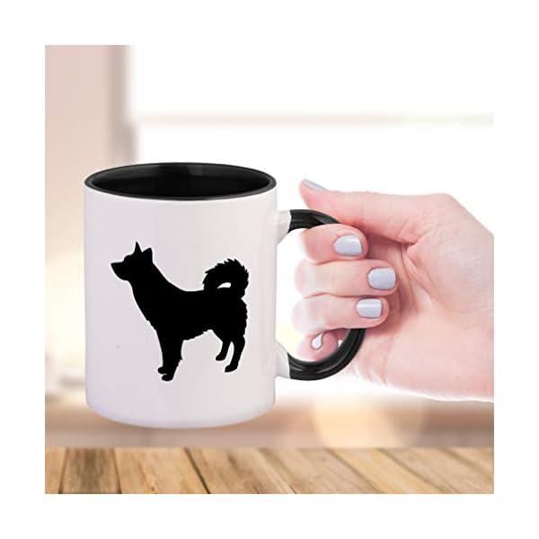 Style In Print Black Alaskan Klee Kai Silhouette Ceramic Cup Colored Mug - Black 2