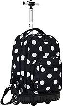 Rockland Single Handle Rolling Backpack, Black Dot, 19-Inch