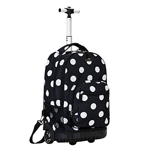 Rockland Single Handle Rolling Backpack, Black Dot, 19-Inch