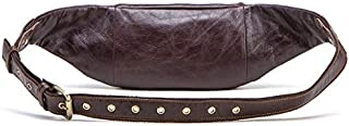 FYXKGLa Men's Genuine Leather Waist Pack Leather Chest Bag Men's Sports Belt top Layer Cowhide Multi-Function Zipper Bag (Color : Coffee)