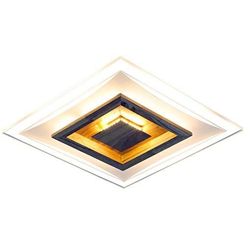 BRIGHTLLT Lampe de plafond en bois simple conduit des lumières du salon lumières de la salle de bains en bois massif lampes d'étude du restaurant carré creux, thermostat à trois tons 500 * 500 * 80mm