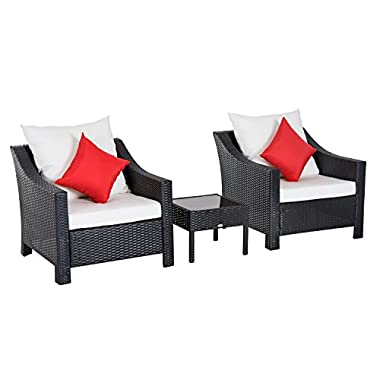 Outsunny 3 Piece Outdoor Patio Rattan Wicker Table and Chair Bistro Set Cushioned Conversation Sofa Set