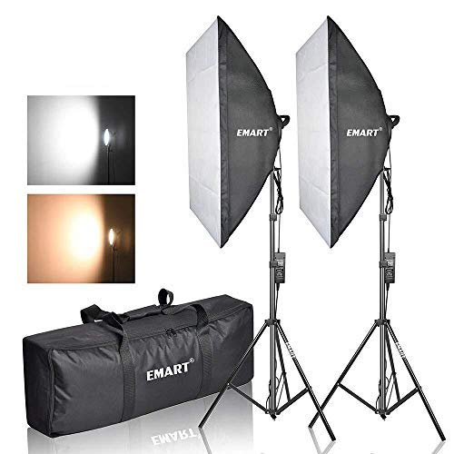 """Emart Photography Softbox Lighting Kit, Photo Equipment Studio Softbox 20"""" x 27"""", 45W Dimmable LED with Double Color Temperature for Portrait Video and Shooting ¡"""