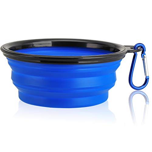 liangdu Collapsible Dog Bowl, Food Grade Silicone BPA Free, Foldable Expandable Cup Dish for Pet Cat Food Water Feeding Portable Travel Bowl Blue Free Carabiner