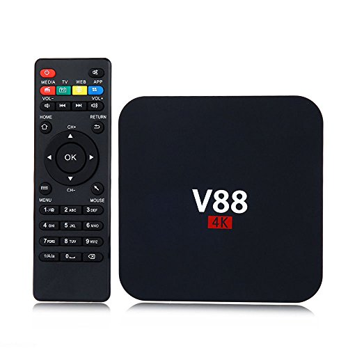 LEEBA Android 6.0 TV Top Box Set, Quad-Core V88 WiFi Smart TV Box 8G ROM DDR3 + 1G RAM 4K HDMI Full HD H.265 con Control Remoto inalámbrico