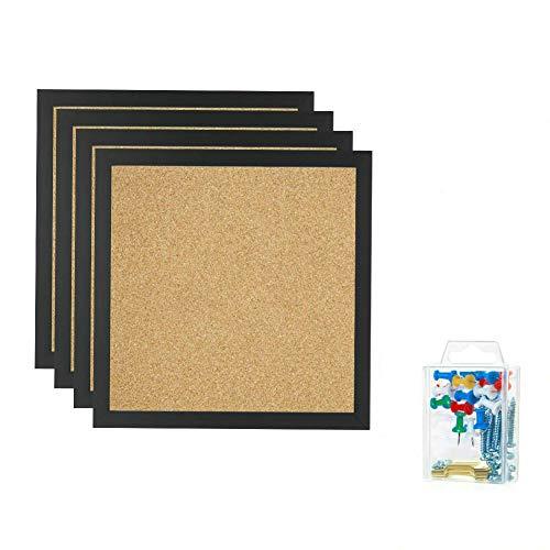 """Bulletin Boards, Mini Wall Modular Elegant Boards 4 Pack Cork Bulletin Board Cork Board 12""""X 12"""" Square Wall Tiles, Modern Black Framed Boards for School, Home & Office (Black)"""