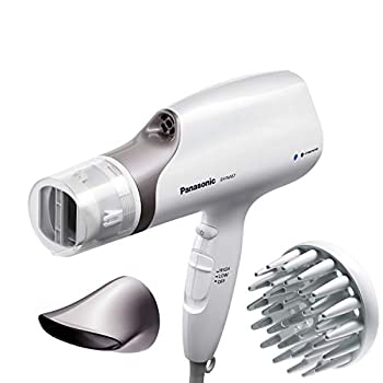 Panasonic Nanoe Salon Hair Dryer with Oscillating QuickDry Nozzle Diffuser and Concentrator Attachments 3 Speed Heat Settings for Easy Styling and Healthy Hair - EH-NA67-W  White