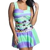 XUEJIN Womens Swim Dress with Short Two Piece Tankini Rainbow Swimsuit