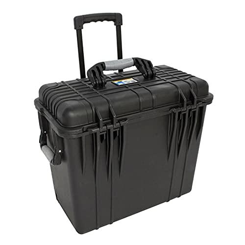 Caja de herramientas con ruedas y varilla Maleta de herramientas Maleta de plástico caja de almacenamiento de plástico con ajuste de espuma para herramientas de precisión Hardware de gran capacidad