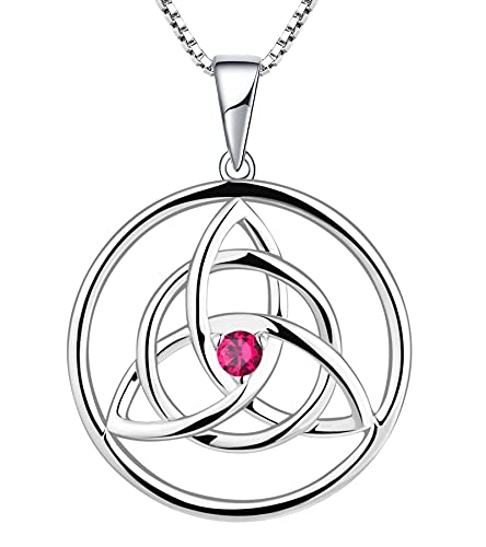 YL Celtic Knot Necklace Sterling Silver Created Ruby Love Knot Pendant Trinity Knot Jewelry