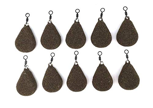 BZS Carp fishing Weights Flat Pear with Swivel Available in Smooth and Textured Finish (1.5oz- 42.52g, Textured)