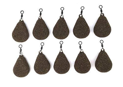 BZS Karpfenfischen Gewichte Flache Birne mit Wirbel Erhältlich in glatter und strukturierter Ausführung (1.5oz- 42.52g, Smooth) (1.5oz- 42.52g, Textured)